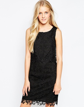 photo Lace Overlay Dress by Soaked in Luxury, color Black - Image 1