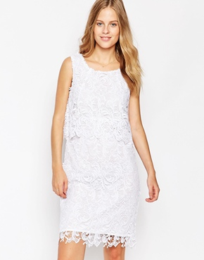 photo Lace Overlay Dress by Soaked in Luxury, color Pure White - Image 1
