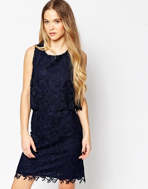 photo Lace Overlay Dress by Soaked in Luxury, color Royal Blue - Image 1
