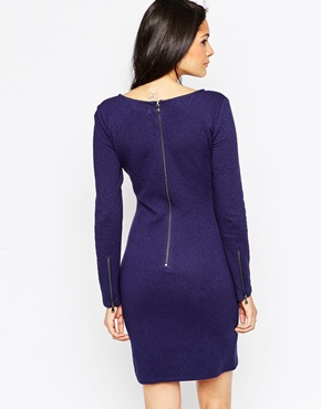 photo Long Sleeve Lace Pencil Dress by Soaked in Luxury, color Black - Image 2