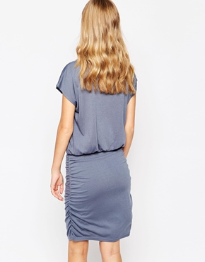 photo Short Sleeve Shift Dress by Soaked in Luxury, color Cloud Grey - Image 2
