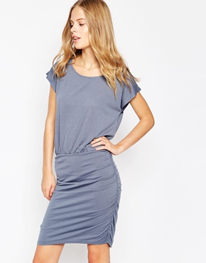 photo Short Sleeve Shift Dress by Soaked in Luxury, color Cloud Grey - Image 1