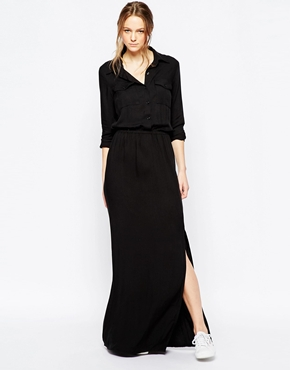 photo Twill Maxi Dress by Splendid, color Black - Image 1