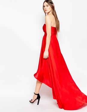 photo Goldie Strapless Maxi Dress by STUDIO 75, color Barbados Cherry - Image 1