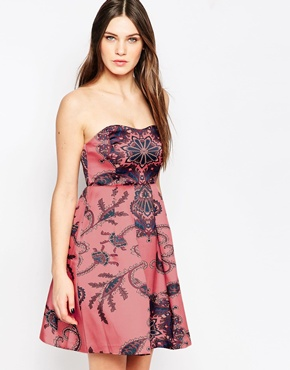 photo Paisley Floral Strapless Mini Dress by STUDIO 75, color All-Over Print - Image 1