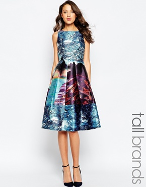 photo Alba Dress with Full Skirt In Landscape Print by STUDIO 75 Tall, color Multi - Image 1