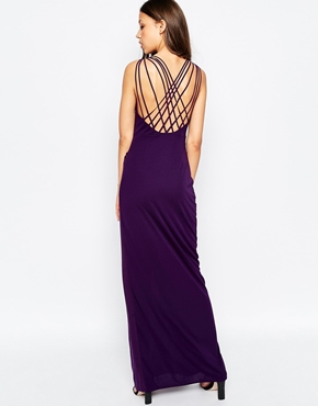 photo Manna Maxi Dress with Wrap Front and Strappy Back by STUDIO 75 Tall, color Purple - Image 2