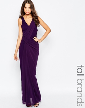 photo Manna Maxi Dress with Wrap Front and Strappy Back by STUDIO 75 Tall, color Purple - Image 1