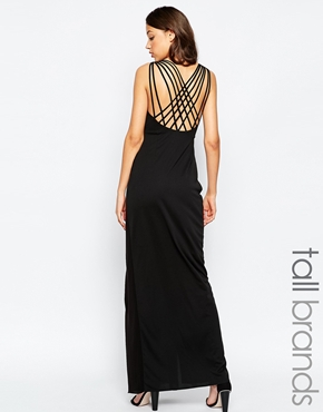 photo Manna Maxi Dress with Wrap Front and Strappy Back by STUDIO 75 Tall, color Black - Image 1