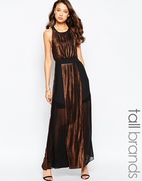 photo Maxi Dress with Metallic Inserts by STUDIO 75 Tall, color Black Bronze - Image 1