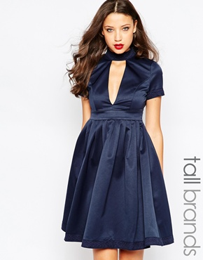 photo Minnie Skater Dress with Plunge Neck by STUDIO 75 Tall, color Navy - Image 1