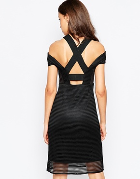 photo Zenia Dress with Cold Shoulder In Cutwork Fabric by STUDIO 75 Tall, color Black - Image 2