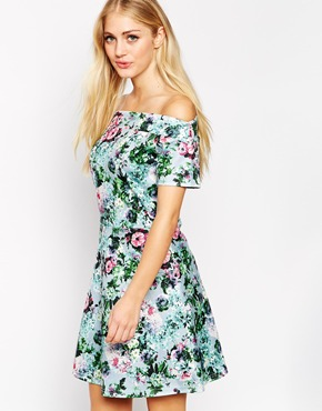 photo Bardot Skater Dress in Floral by Style London, color Green - Image 1