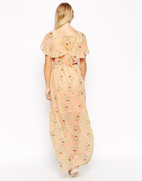 photo Ditsy Maxi Dress with Cape Detail by Style London, color Peach - Image 2
