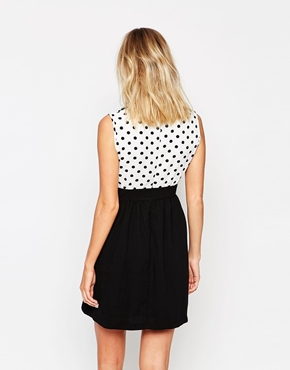 photo Dress with Polka Dot Overlay by Style London, color Black White - Image 2