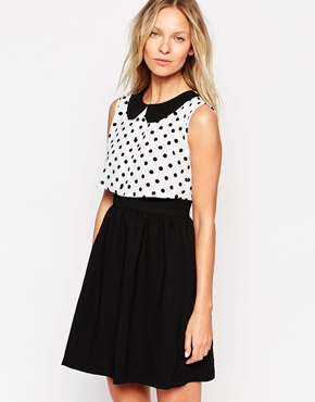 photo Dress with Polka Dot Overlay by Style London, color Black White - Image 1
