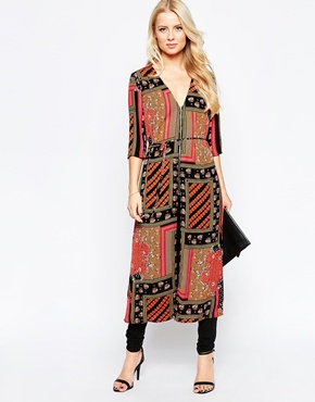 photo Longline Tunic with Zip Front In Scarf Print by Style London, color Red Black - Image 1