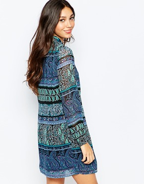 photo Pussybow Shirt Dress In Multi Paisley Print by Style London, color Blue - Image 2