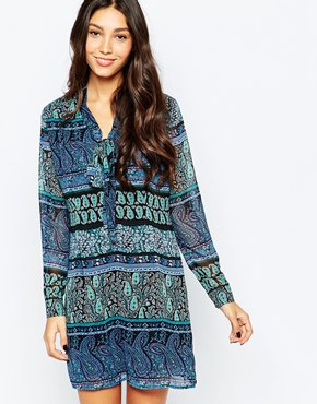 photo Pussybow Shirt Dress In Multi Paisley Print by Style London, color Blue - Image 1