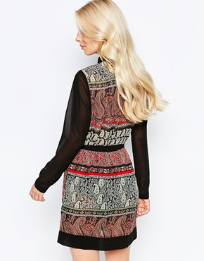 photo Shirt Dress In Paisley Print with Contrast Sleeves by Style London, color Black Red - Image 2