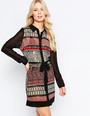 photo Shirt Dress In Paisley Print with Contrast Sleeves by Style London, color Black Red - Image 1