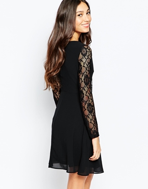 photo Skater Dress with Lace Sleeves by Style London, color Black - Image 2