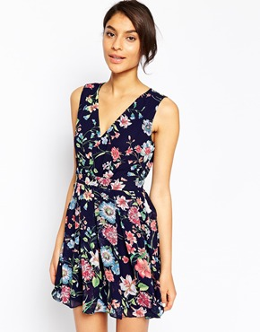 photo Wrap Front Dress in Floral Print by Style London, color Navy - Image 1
