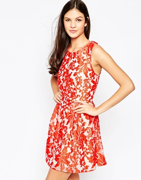 photo Firebird Lace Dress by Stylestalker, color Red - Image 1