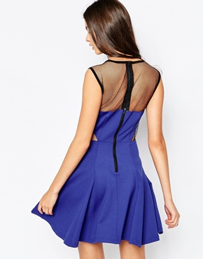 photo GTO Skater Dress with Cut Outs and Mesh by Stylestalker, color Blue - Image 2