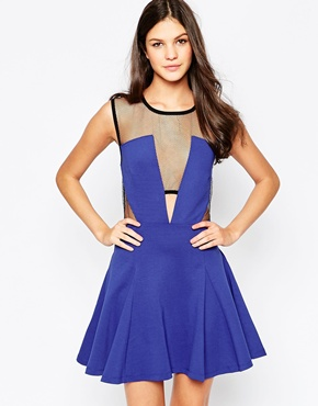 photo GTO Skater Dress with Cut Outs and Mesh by Stylestalker, color Blue - Image 1