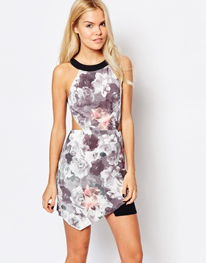 photo Sweetheart Floral Dress with Cut Outs by Stylestalker, color Multi - Image 1