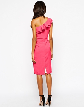 photo Ruffle Detail One Shoulder Dress by Tempest, color Pink - Image 2