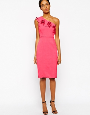 photo Ruffle Detail One Shoulder Dress by Tempest, color Pink - Image 1