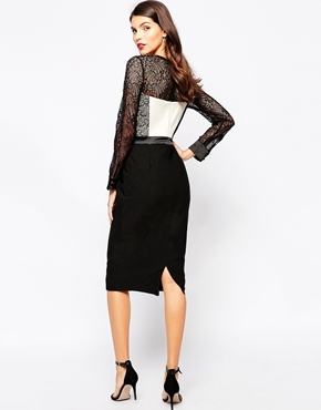 photo Dalia Midi Dress by The Crystal Collection by Vesper, color Black Ivory - Image 2