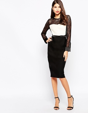 photo Dalia Midi Dress by The Crystal Collection by Vesper, color Black Ivory - Image 1