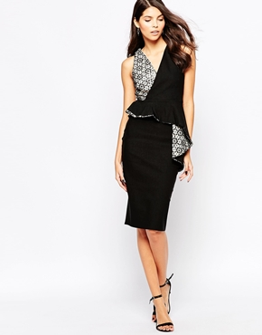 photo Dominque Midi Dress by The Crystal Collection by Vesper, color Black Ivory - Image 1