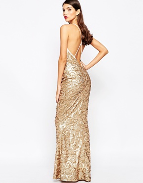 photo Odessy Sequin Maxi Dress by The Crystal Collection by Vesper, color Gold - Image 2