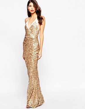 photo Odessy Sequin Maxi Dress by The Crystal Collection by Vesper, color Gold - Image 1