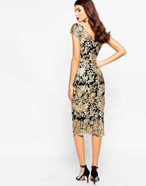 photo Pandora Metallic Lace Midi Dress by The Crystal Collection by Vesper, color Gold - Image 2