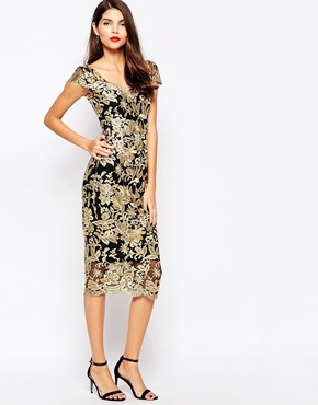 photo Pandora Metallic Lace Midi Dress by The Crystal Collection by Vesper, color Gold - Image 1