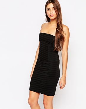 photo Bombshell Striped Bodycon Dress by The Furies, color Black - Image 1