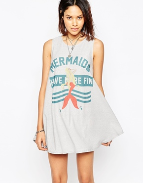 photo Mermaids Have More Fun Swing Dress by The Laundry Room, color Lava Rock - Image 1