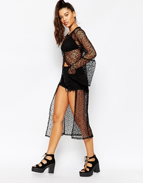 photo Split Front Bell Sleeve Crochet Shirt Dress by The Ragged Priest, color Black - Image 2
