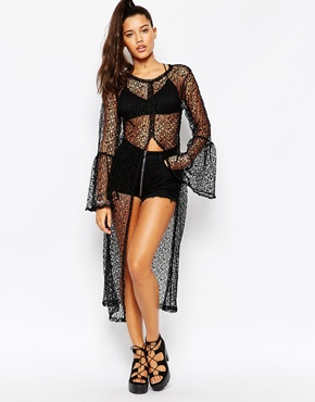 photo Split Front Bell Sleeve Crochet Shirt Dress by The Ragged Priest, color Black - Image 1