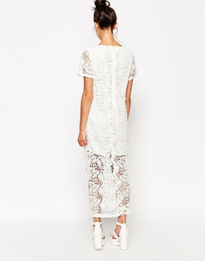photo Longline Lace Dress by The WhitePepper, color Ivory - Image 2