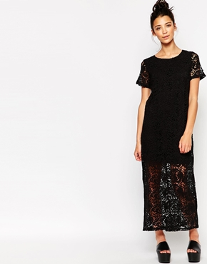 photo Longline Lace Dress by The WhitePepper, color Black - Image 1