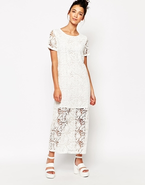 photo Longline Lace Dress by The WhitePepper, color Ivory - Image 1