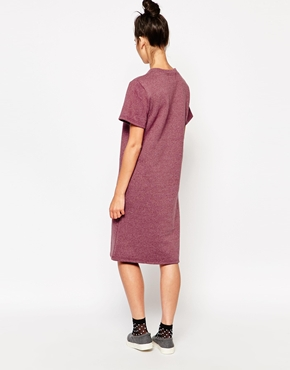 photo Oversized Midi T-Shirt Dress by The WhitePepper, color Burgundy - Image 2