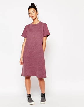 photo Oversized Midi T-Shirt Dress by The WhitePepper, color Burgundy - Image 1