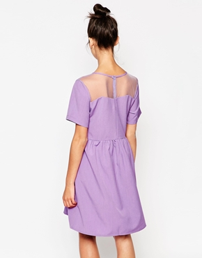photo Sheer Scallop Panel Dress by The WhitePepper, color Lilac - Image 2